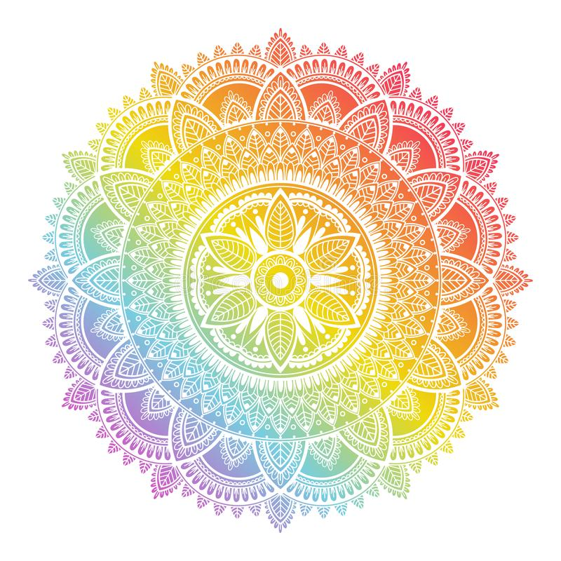 Colorful rainbow ethnic mandala on white background. Circular decorative pattern. vector illustration