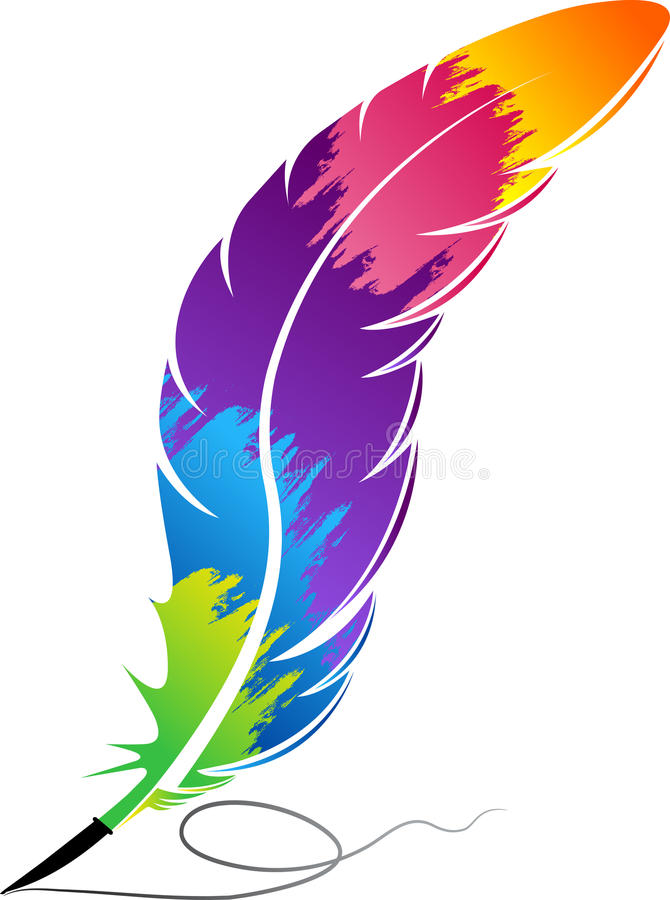 Colorful rainbow feather royalty free illustration