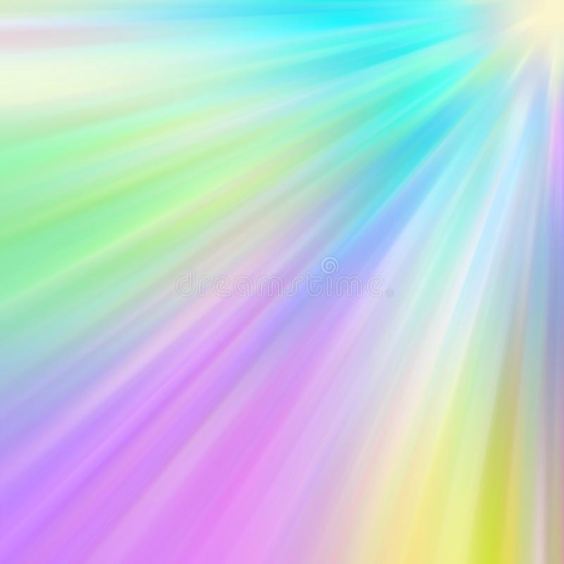 Colorful rainbow glitter sparkle background design. Multi-colored rainbow sparkle rays emerging from the angle of the background texture design stock illustration