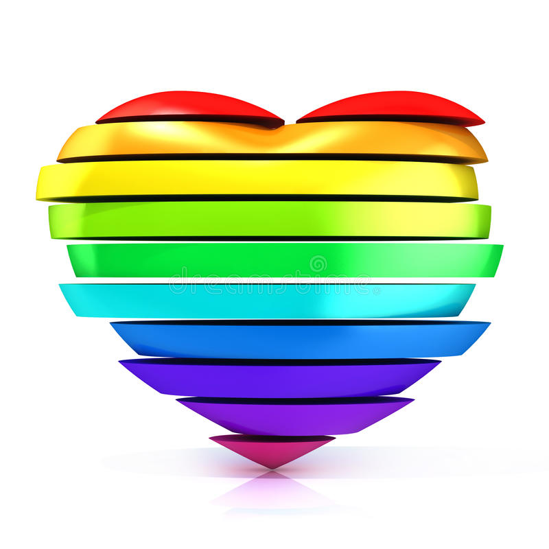 Colorful, rainbow heart vector illustration