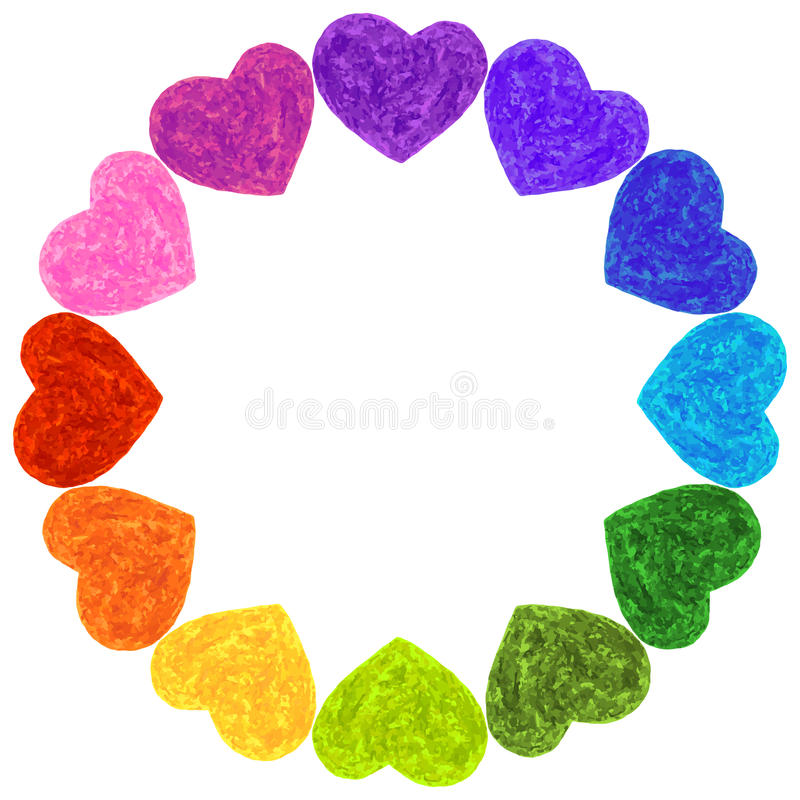Colorful Rainbow Hearts Frame Template Ring Stock Vector