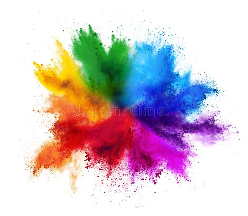 Colorful rainbow holi paint color powder explosion isolated white background stock images
