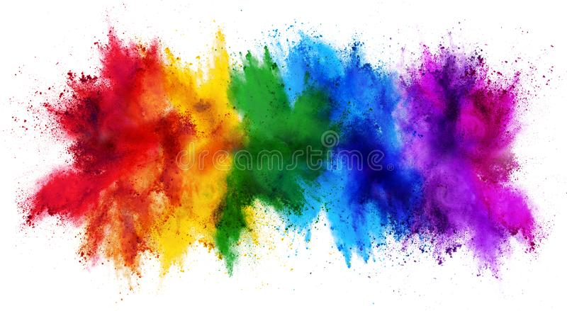 Colorful rainbow holi paint color powder explosion isolated white wide panorama background. Colorful rainbow holi paint color powder explosion isolated on white