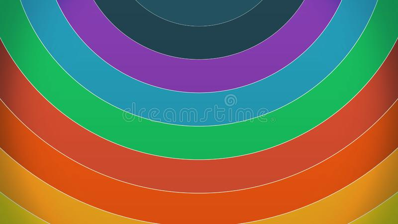 Colorful rainbow paint curves spinning with a spectrum of vibrant colors rotating in a CGI high definition multicolor stock illustration