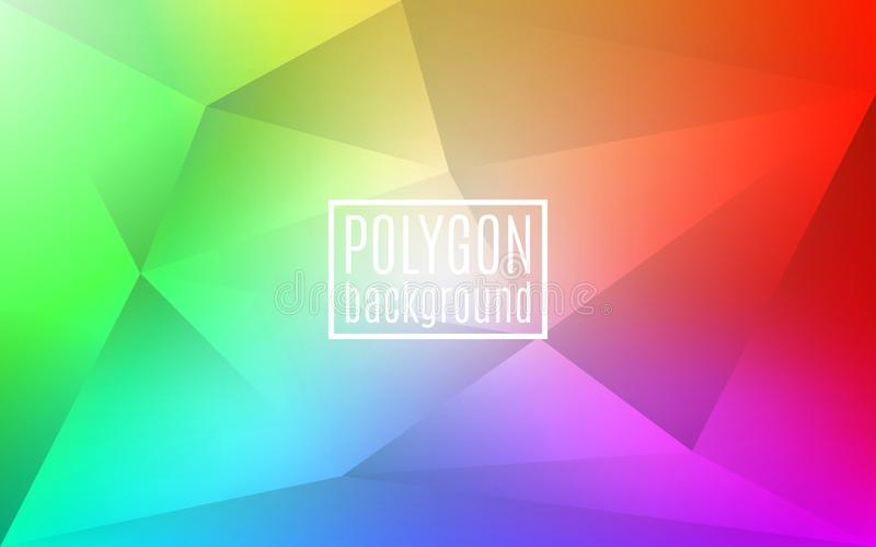 Colorful rainbow polygon background. Triangle mosaic with transparencies. Creative color backdrop for design. Vector stock illustration