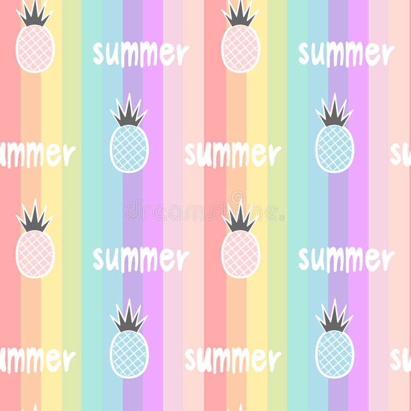 Colorful rainbow striped seamless pattern background illustration with pineapples and hand drawn lettering word summer stock illustration