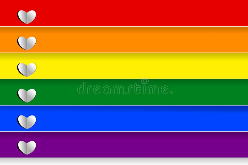 Colorful rainbow striped with small white heart shapes in paper cut style. Vector illustration. The rainbow flag is a symbol of lesbian, gay, bisexual vector illustration