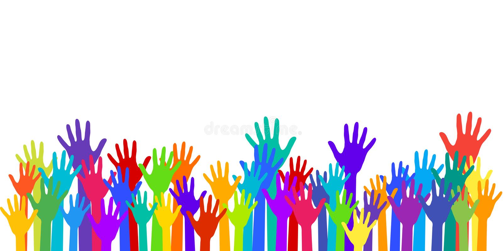 Colorful raised hands group art therapy vector vector illustration