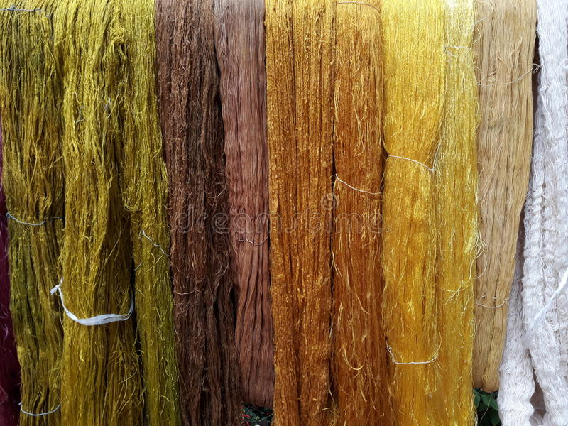 Colorful of Raw silk thread stock image