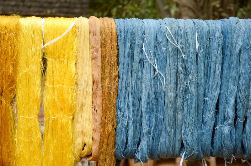 Colorful raw silk thread stock photography
