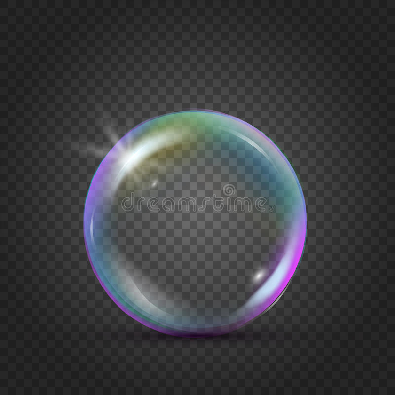 Colorful realistic bubble with rainbow reflection. And blink. Liquid cleaning soap foam for bath and shower. Shampoo foam on transparent background. Isolated vector illustration