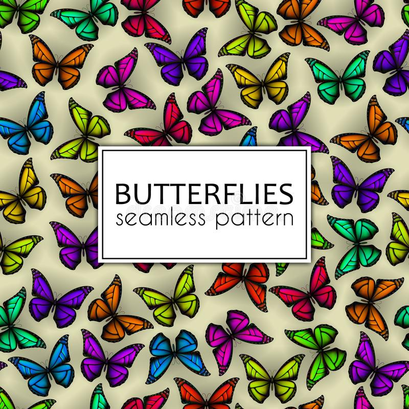 Colorful realistic butterflies seamless pattern. Vector illustration design. Colorful realistic butterflies seamless pattern. Vector illustration design vector illustration