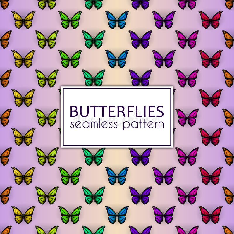 Colorful realistic butterflies seamless pattern. Vector illustration design. Colorful realistic butterflies seamless pattern. Vector illustration design royalty free illustration
