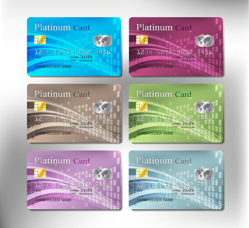 Colorful realistic credit or debit card of business investment royalty free stock photos