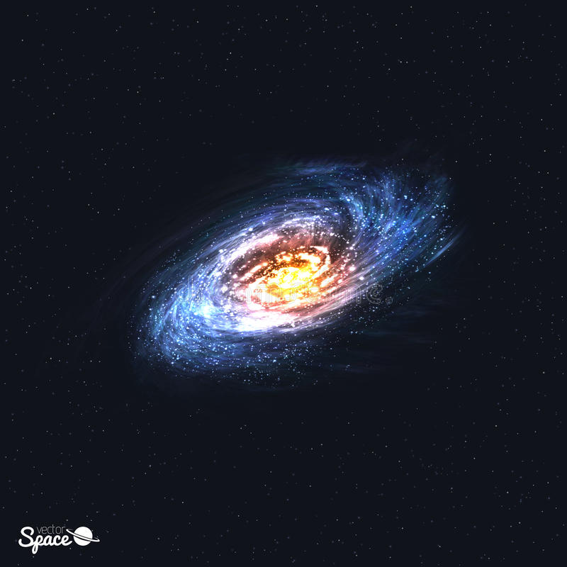 Colorful Realistic Spiral Galaxy on Space Background. Vector illustration. stock illustration