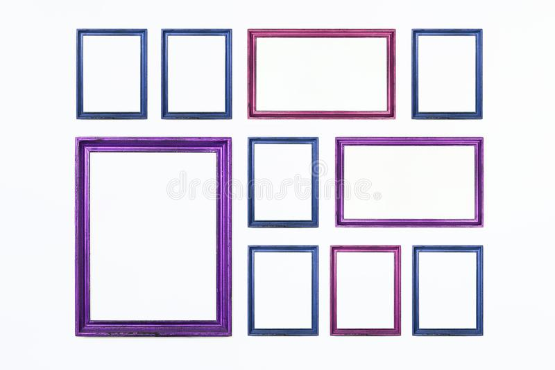 Colorful rectangular frames for painting or picture on white background. Isolated. Add your text. royalty free stock images