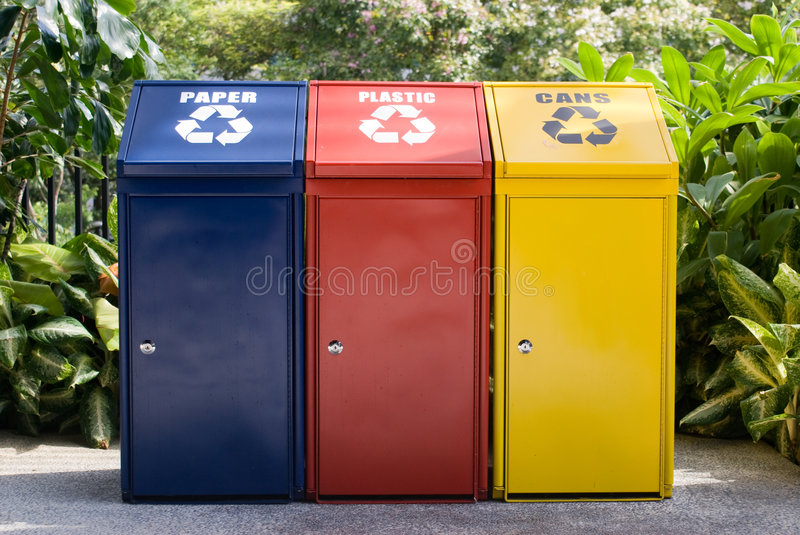 Colorful recycle bin stock photography
