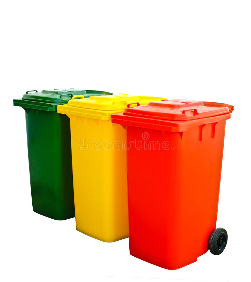 Colorful Recycle Bin Isolated. Green yellow and red recycle bin on isolated royalty free stock photo