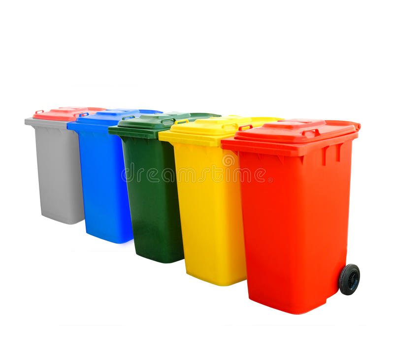 Colorful Recycle Bins. Blue green yellow red and gray recycle bin isolated stock photos