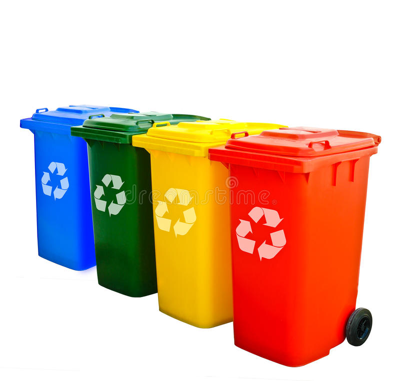 Colorful Recycle Bins Isolated. Blue Green Yellow Red Recycle Bins Isolated royalty free stock images