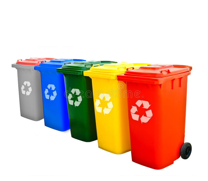 Colorful Recycle Bins Isolated. Gray blue green yellow red Recycle Bins Isolated royalty free stock images