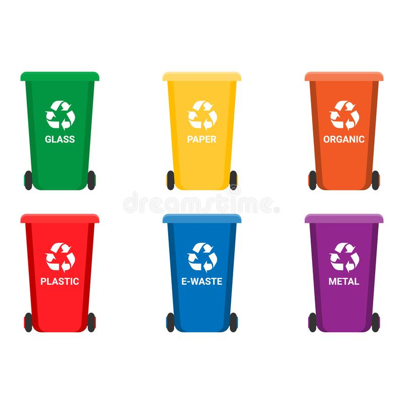 Colorful recycle trash bins isolated white, vector set. Big containers for recycling waste sorting - plastic, glass royalty free illustration