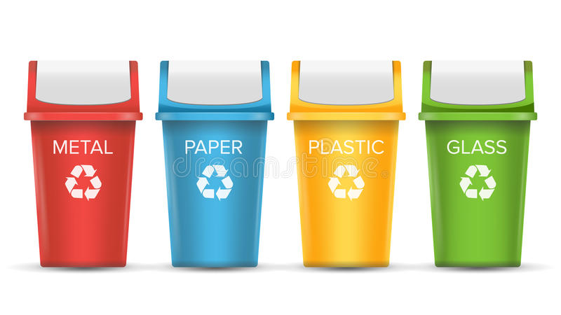 Colorful Recycle Trash Bins Vector. Set Of Realistic Red, Green, Blue, Yellow Container Buckets. On White stock illustration