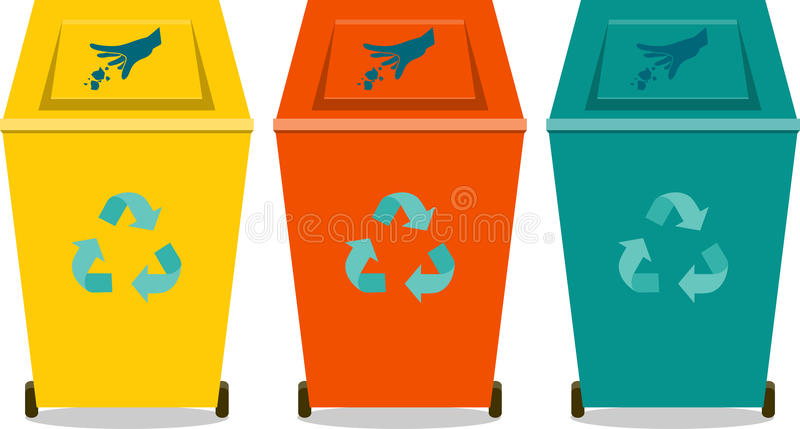 Colorful recycle trash or rubbish bins stock illustration