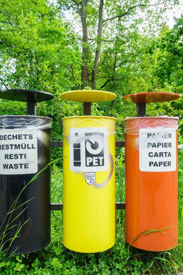 Colorful Recycling Bins royalty free stock image