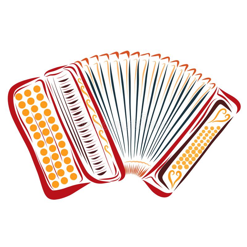 Colorful red button accordion, musical instrument.  stock illustration