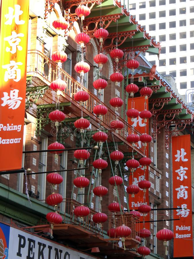 Colorful Red Chinese Lanterns in Chinatown in front of the Peking Bazaar in San Francisco, California royalty free stock images