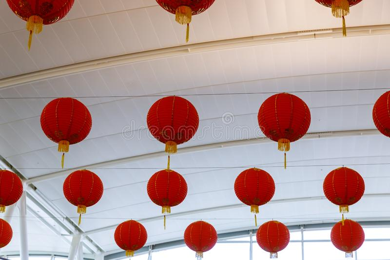 Colorful red Chinese lanterns for New Year for decorated royalty free stock photos