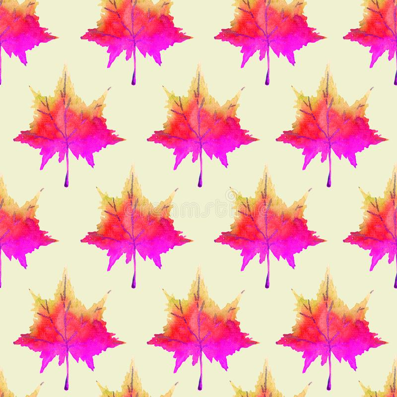 Colorful red maple leaves, hand painted watercolor illustration, seamless pattern design. Colorful red maple leaves, hand painted watercolor illustration stock illustration