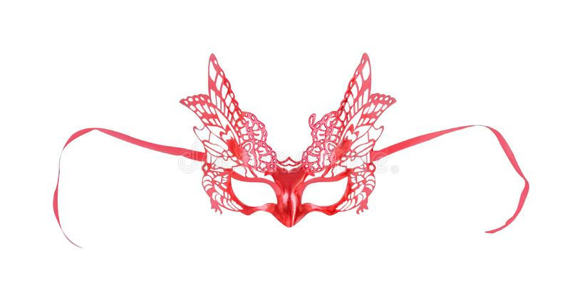 Colorful red mask with butterfly patterns isolate on white background with clipping path stock photos