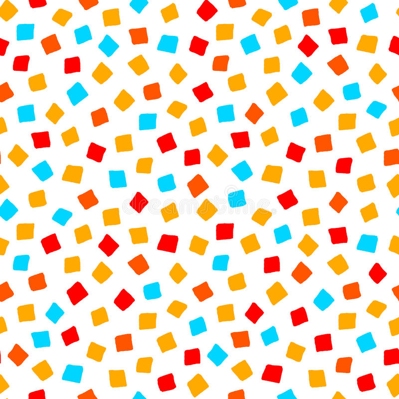 Colorful red orange yellow blue square shape geometric seamless pattern, vector stock illustration