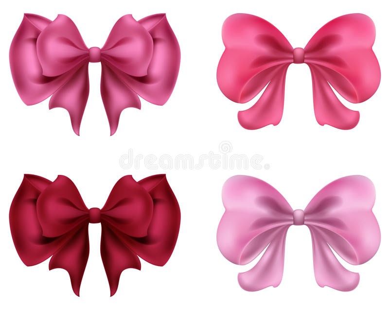 Colorful red and pink bows and ribbons illustration vector illustration