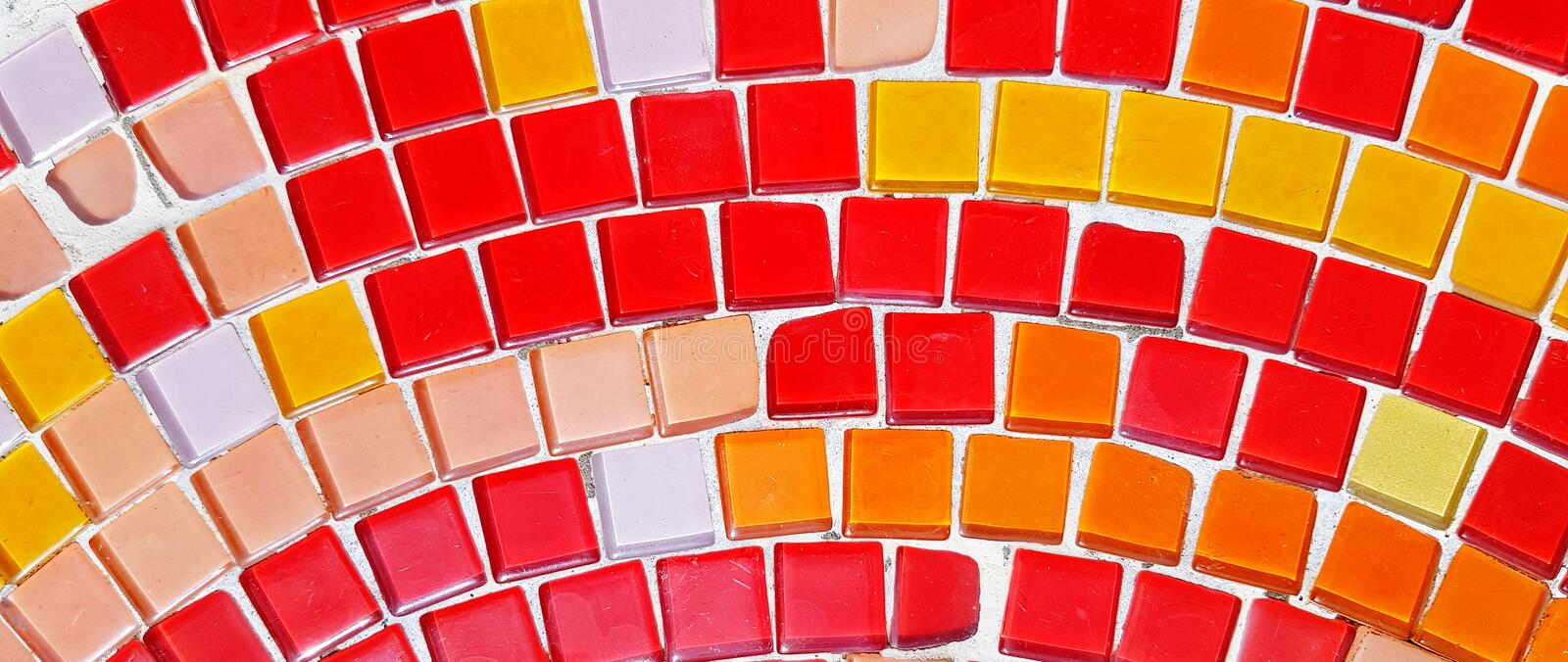 Colorful of red, pink, orange and white mosaic tile floor or wall for background royalty free stock photos
