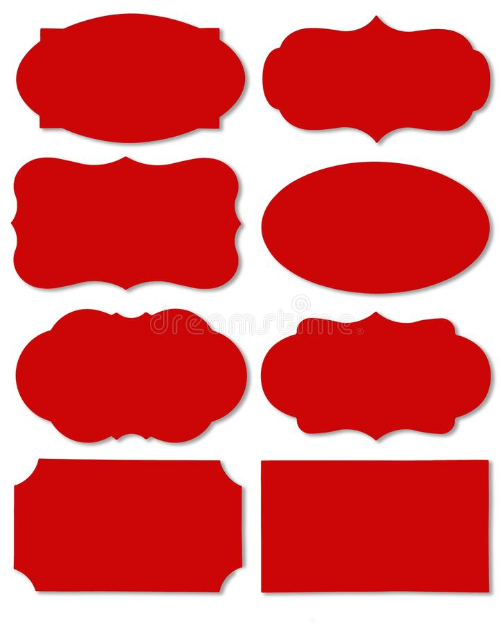 Colorful red set of different speech bubble as a cloud isolated on empty white background royalty free illustration