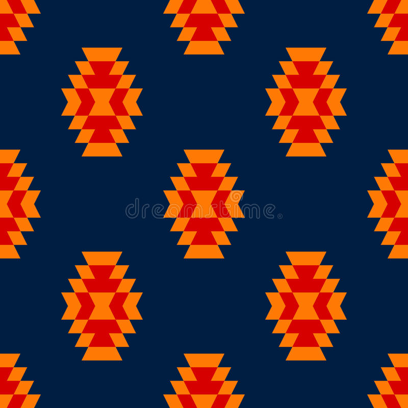 Colorful red yellow blue aztec ornament geometric ethnic seamless pattern, vector royalty free illustration