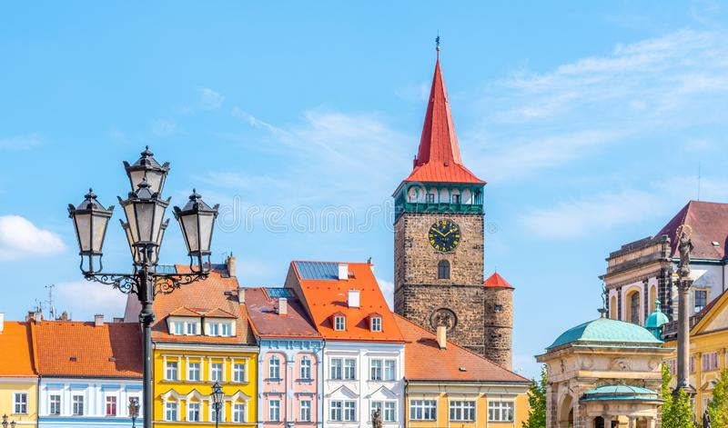 Colorful renaissance houses and Valdice Gate at Wallenstein Square in Jicin, Czech Republic royalty free stock photos