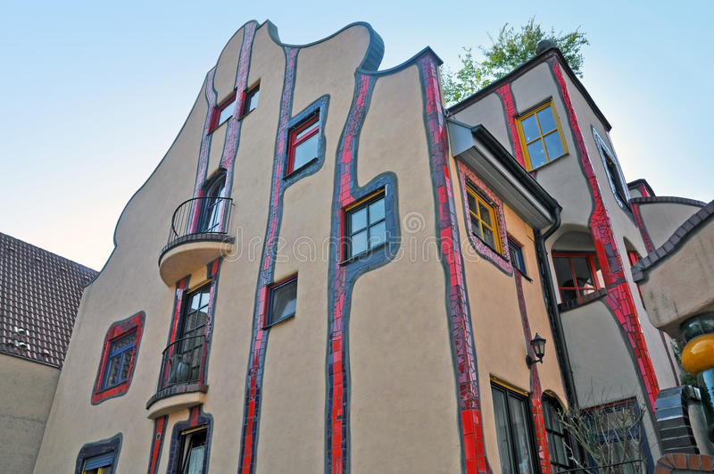 Colorful residential apartment building. Stuttgart, Germany - April 21, 2014. Colorful residential apartment building, designed by architect Hundertwasser royalty free stock photography