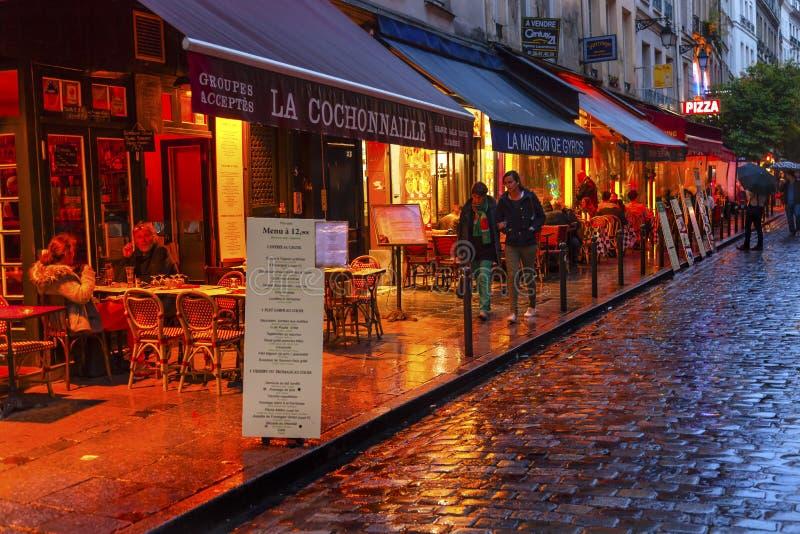 Colorful Restaurants Latin Quarter West Bank Paris France royalty free stock photo
