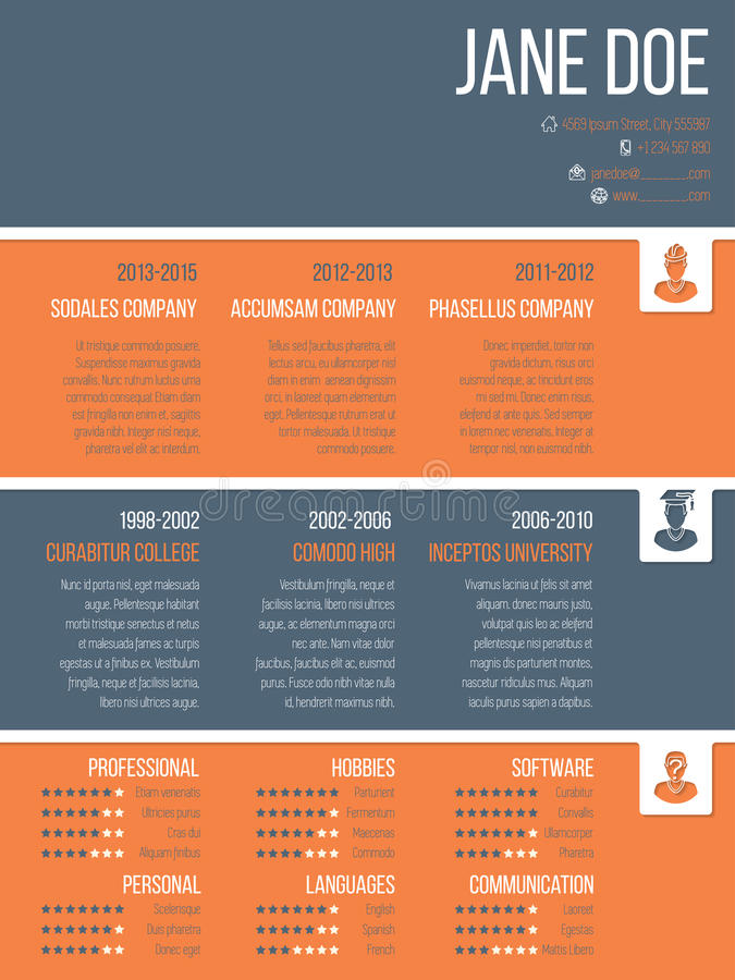 colorful resume cv template with timeline stock illustration