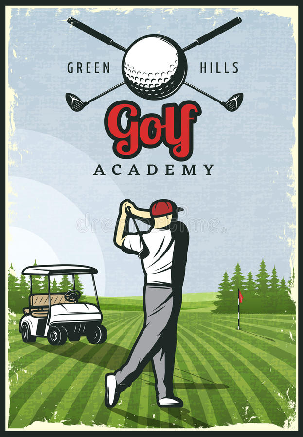 Colorful Retro Golf Poster stock illustration