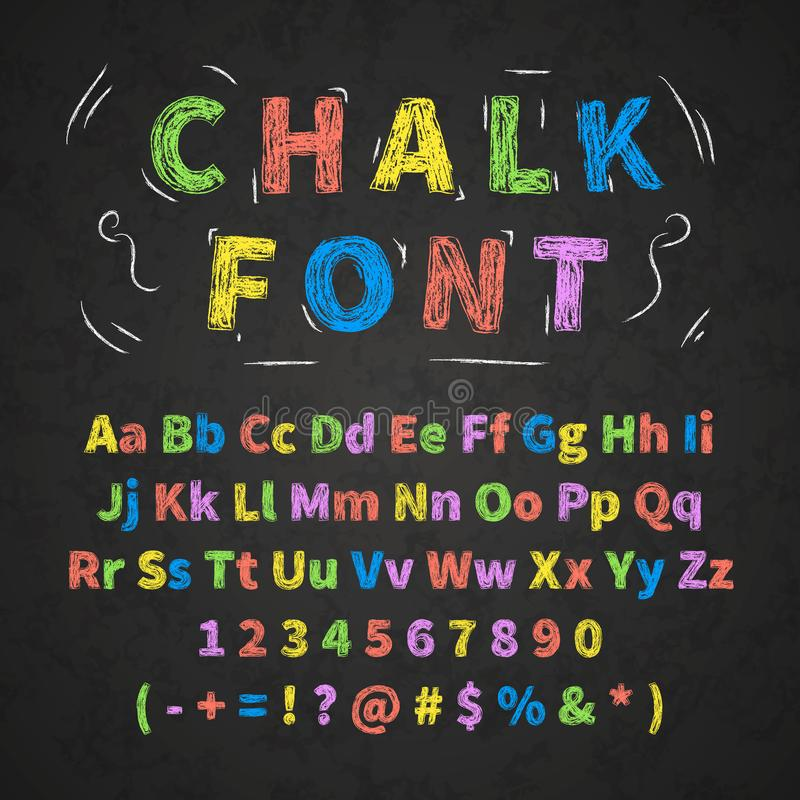 Colorful retro hand drawn alphabet letters drawing with chalk on black chalkboard stock illustration