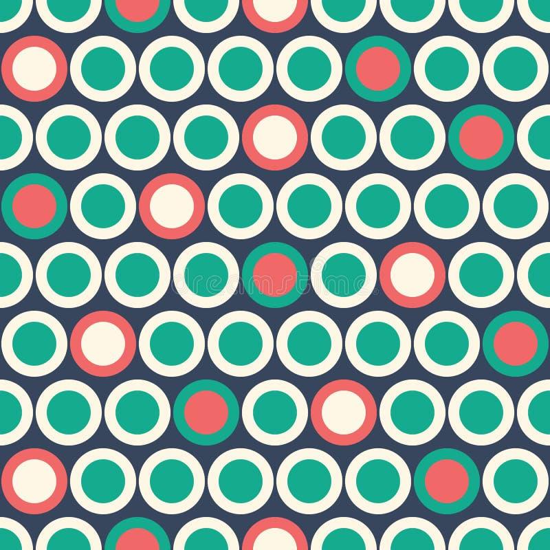 Retro Mod Vector Seamless Polka Dot Pattern in red, green, cream on dark blue background. Stylish Classic Print. Colorful Retro Mod Vector Seamless Polka Dot stock illustration