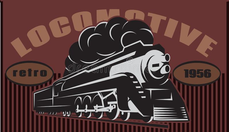 Colorful retro posters with vintage locomotive. Vector illustration. Colorful retro posters with a vintage locomotive. Vector illustration royalty free illustration