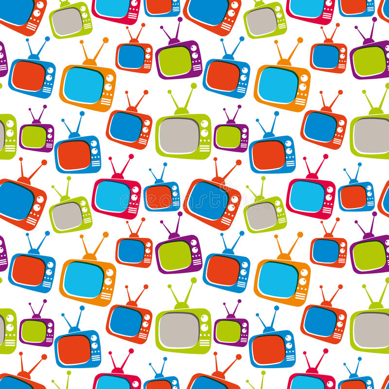 Colorful retro style TV sets seamless background, vector illustration. vector illustration