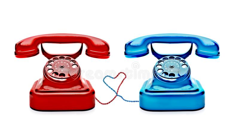 Retro Telephones with a heart. Colorful Retro Telephones isolated on white background stock images
