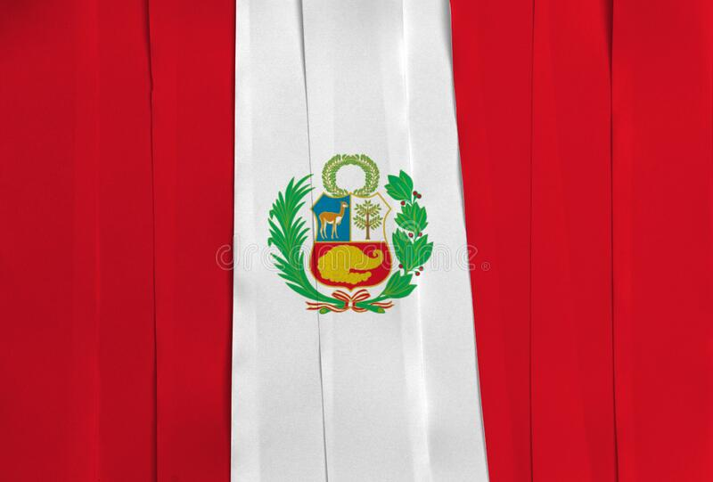 Colorful ribbon as Peru national flag, vertical triband of red white and red with cost of arms. On center stock photos